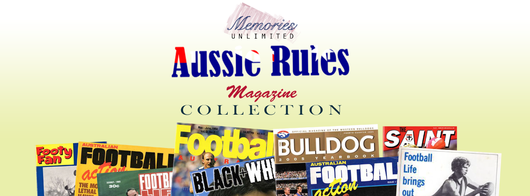 VFL Memorabilia store, Aussie Rules Football Collectables 1960 1970 1980 1990, Melbourne, footy fan, footy action, footy week, football life