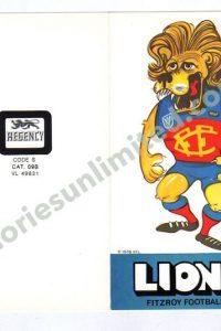 FITZROY, LIONS (1976 REGENCY 'ROGERS CLUB MASCOT')