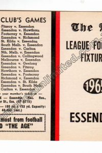 1965 THE AGE, ESSENDON (1965 VFL FOOTBALL FIXTURE)
