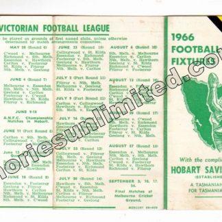 VFL Memorabilia, AFL Collectables, Fixture, hobart