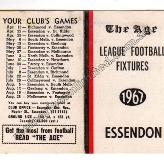 VFL Memorabilia, AFL Collectables, Fixture