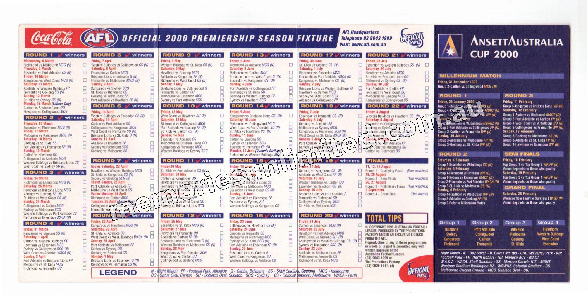 2000 AFL CLUB MEMBERSHIP (2000 AFL FOOTBALL FIXTURE)