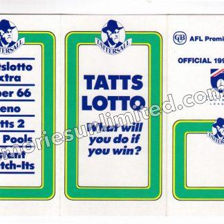 1992 TATTERSALLS TATTSLOTTO AFL FOOTBALL FIXTURE Copy