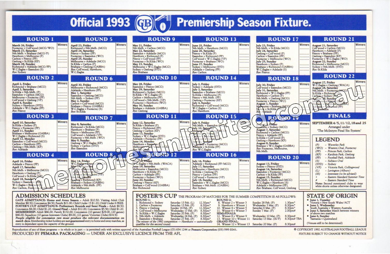1993 AFL CLUB MEMBERSHIP, ESSENDON (1993 AFL FOOTBALL FIXTURE)