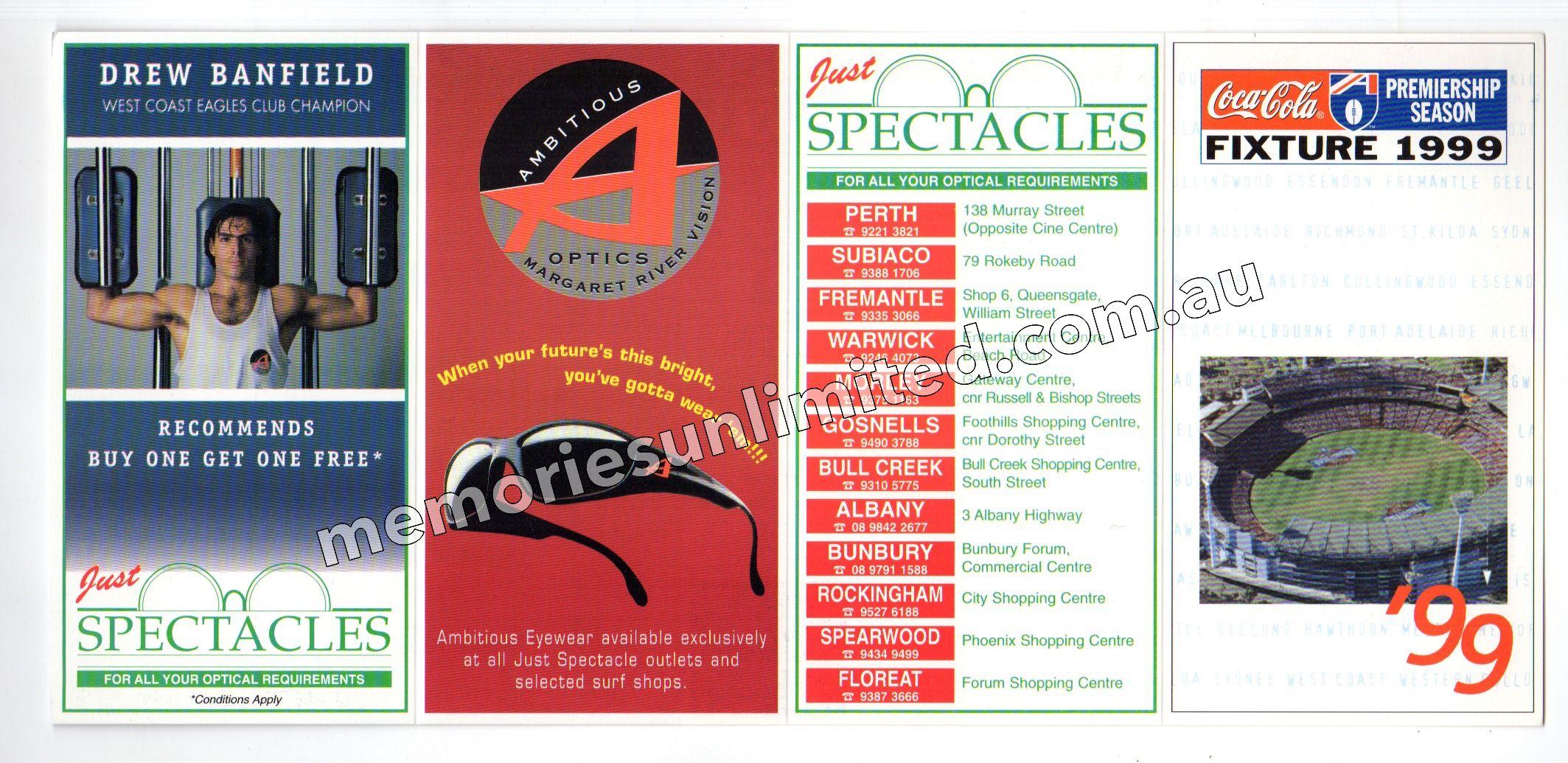 1999 JUST SPECTACLES (1999 AFL & WAFL FOOTBALL FIXTURE)