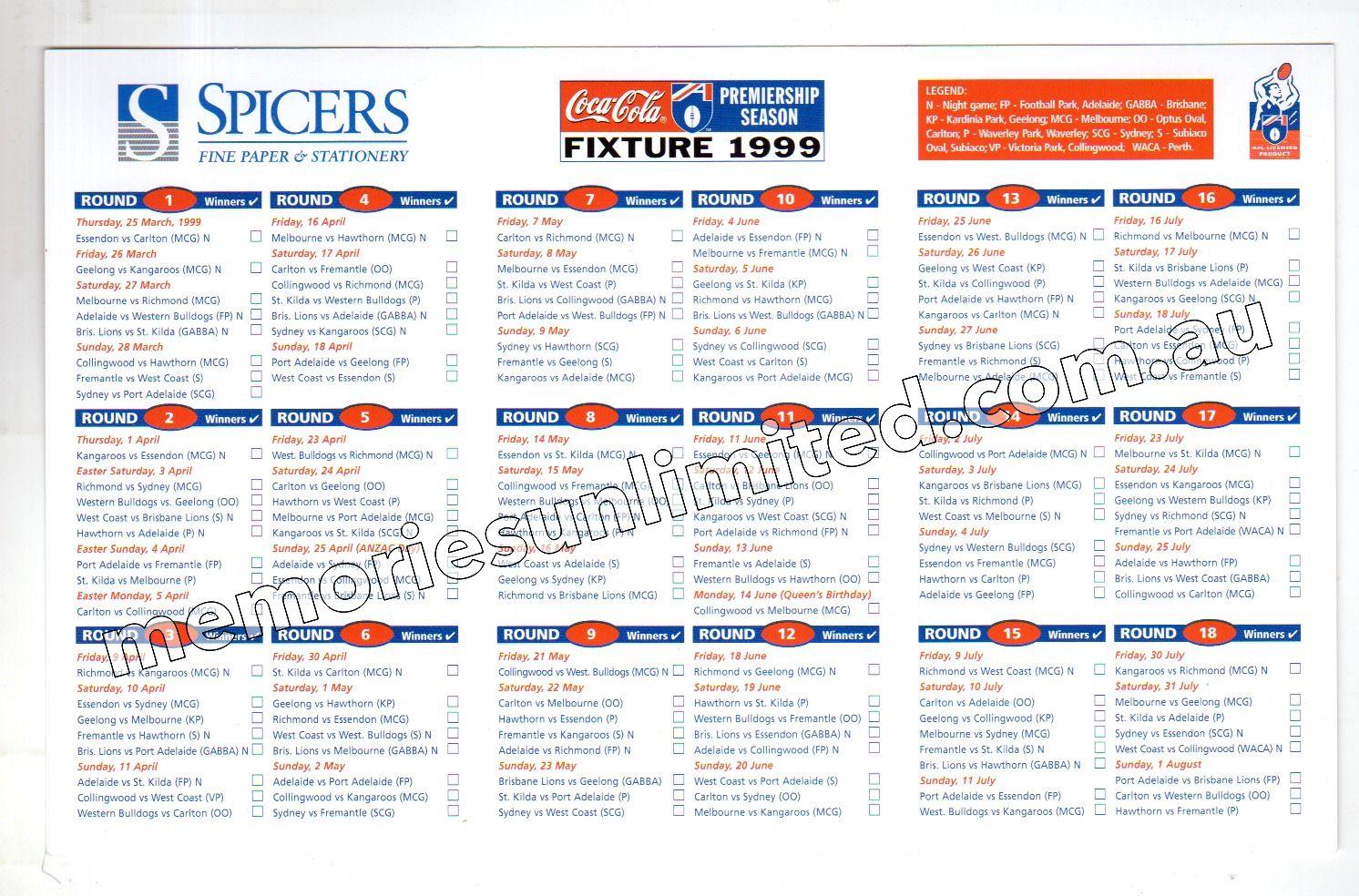 1999 SPICERS (1999 AFL FOOTBALL FIXTURE)