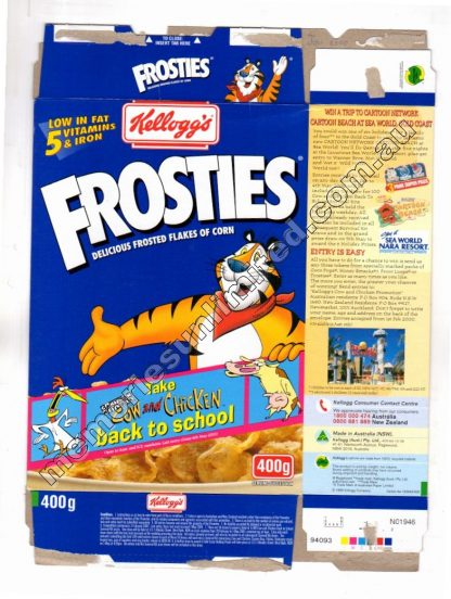 Kellogg's vintage cereal package boxes, Collection, rare, FROSTED FLAKES , SUGAR FROSTIES, FROSTIES, 80's