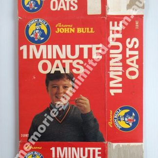 1 minute oats, Advertising, collectables, memorabilia, rare, vintage, cereal package, culture, cornflakes, retro