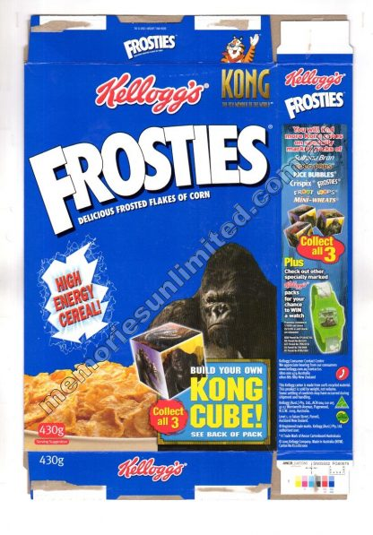 Kellogg's vintage cereal package boxes, Collection, rare, FROSTED FLAKES , SUGAR FROSTIES, FROSTIES, 2000's