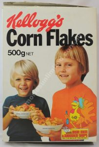 Advertising, collectables, memorabilia, rare, vintage, cereal package, culture, cornflakes, retro ,