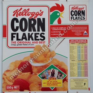 Advertising, collectables, memorabilia, rare, vintage, cereal package box, culture, cornflakes, retro, kellogg's