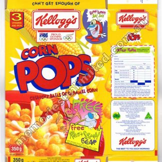 Advertising, collectables, memorabilia, rare, vintage, cereal package box, culture, corn pops, retro, kellogg's