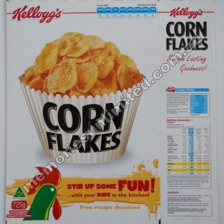 Advertising, collectables, memorabilia, rare, vintage, cereal package box, culture, cornflakes, retro, kellogg's, 2010's, Australia, Melbourne