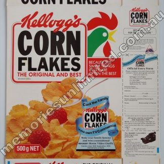 Advertising, collectables, memorabilia, rare, vintage, cereal package box, culture, cornflakes, retro, kellogg's, 90's, Australia, Melbourne,